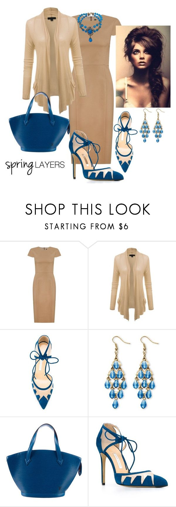 """Cool Spring Night"" by paperdollsq ❤ liked on Polyvore featuring Andrea Marques, Bionda Castana, Palm Beach Jewelry, Louis Vuitton, Miriam Haskell, contestentry, cutecardigan and springlayers"