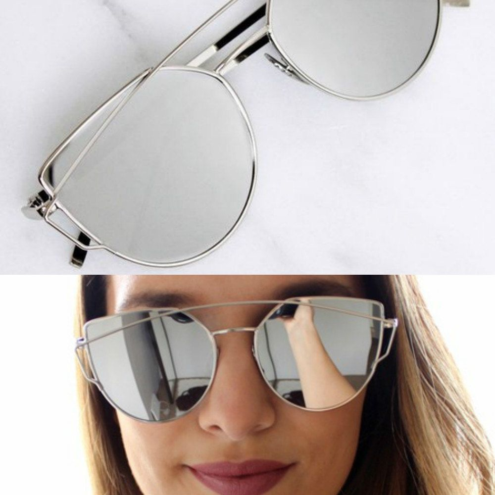 Silver - Mirrored Sunglasses Twin Beams by Eiindia on Etsy