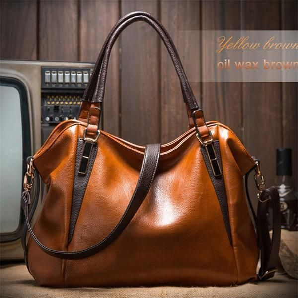 bc608881757 Genuine Leather Women Bag Casual Shoulder Bags Vintage Female Luxury  Messenger Crossbody Tote Bag