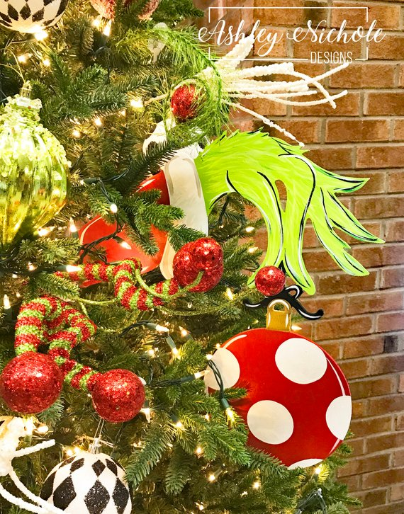 The Grinch Christmas Tree Decorations.Tree Decor Grinch Inspired Hand Ornament With Or Without