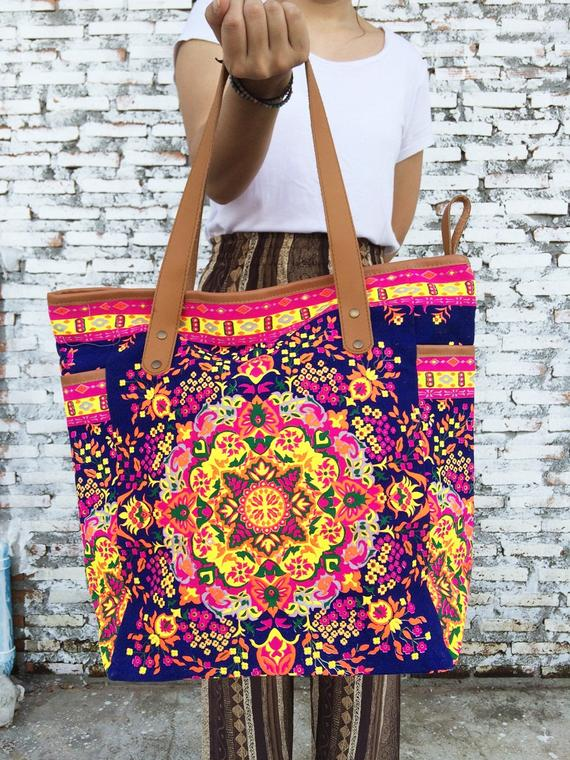 b6a2ef4a83d0 Navy Weekender Bag Summer Large Tote Canvas bag Colorful Neon ...