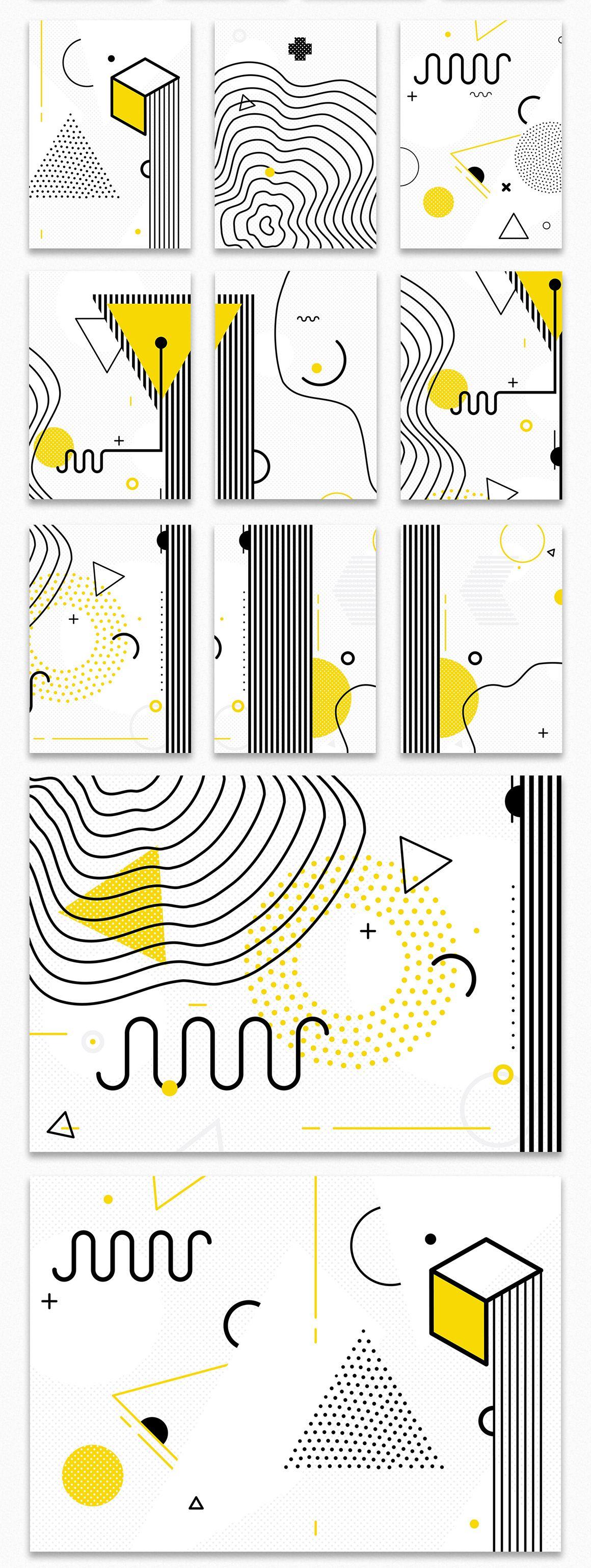 126 Posters & Elements Memphis Set - Design Cuts