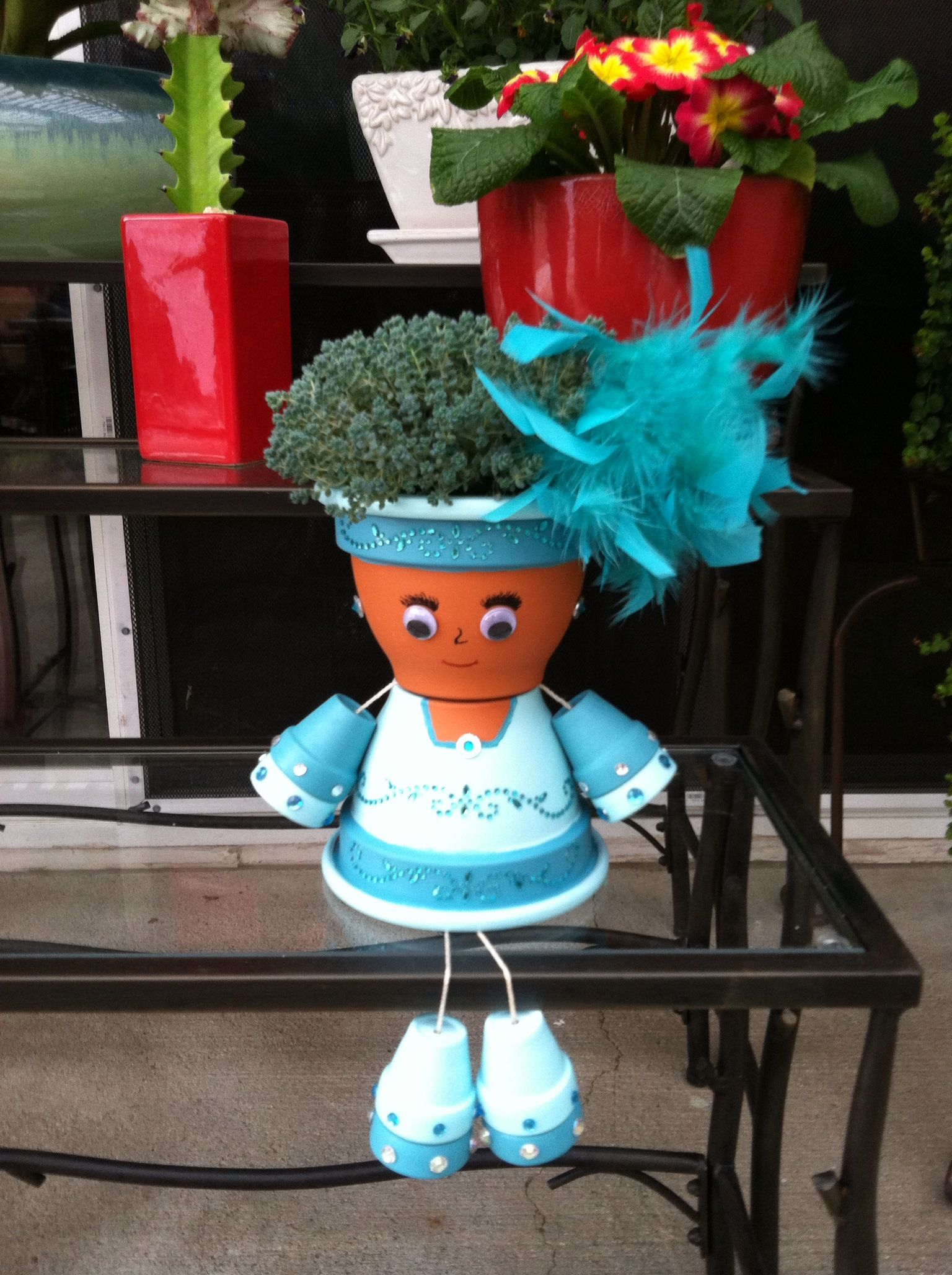 I Had So Much Fun Making My Lady With Bling Love Her Look Terra Cotta Pot Crafts Clay Pot Crafts Flower Pot Crafts