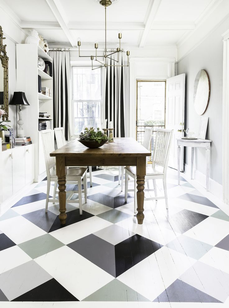 Earlier than after painted eating room flooring find out do it yourself paint wood floors with a fun pattern dyi how to instructions solutioingenieria Images