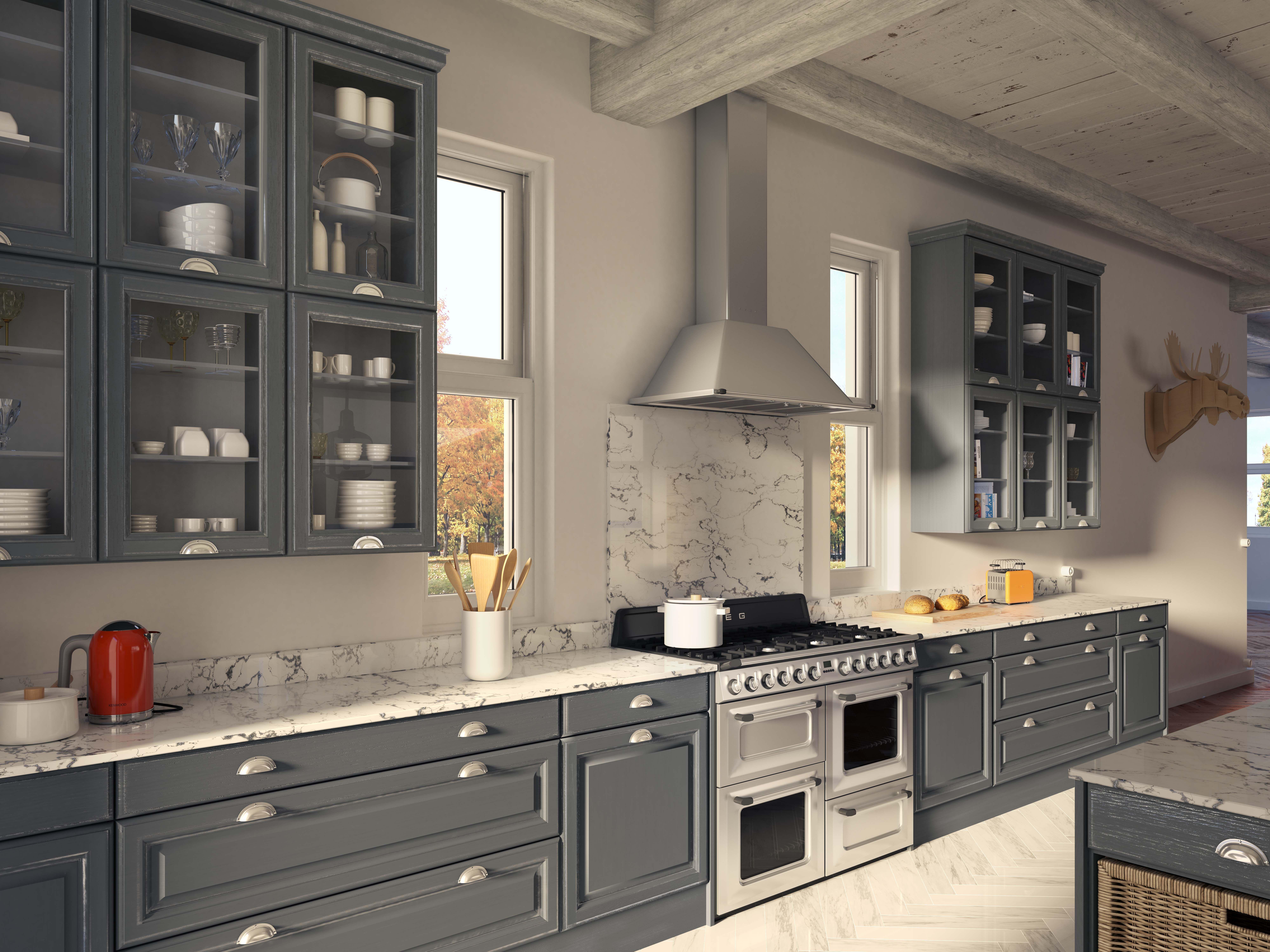 Plan Travail En Quartz lodge | cuisine chene, cuisine, plan de travail quartz