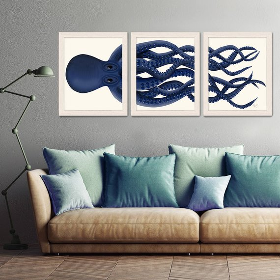 Photo of Giant Octopus Print Blue Octopus Triptych Set of 3 – octopus poster Giclee poster nautical decor Octopus wall art home decor
