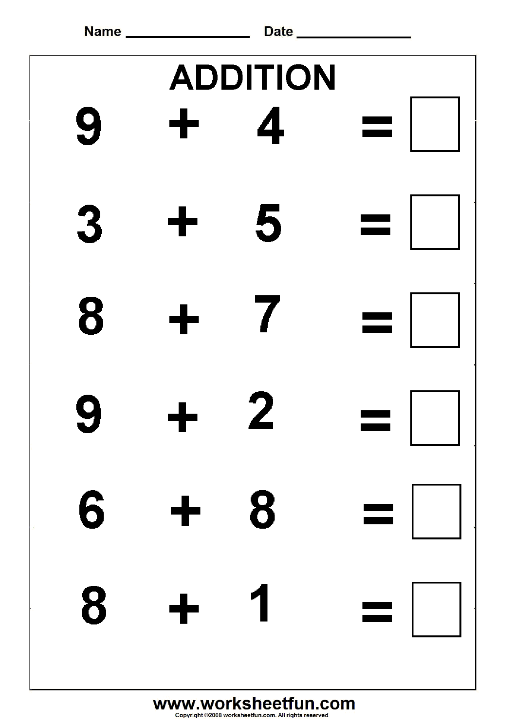 Beginner Addition 5 Worksheets