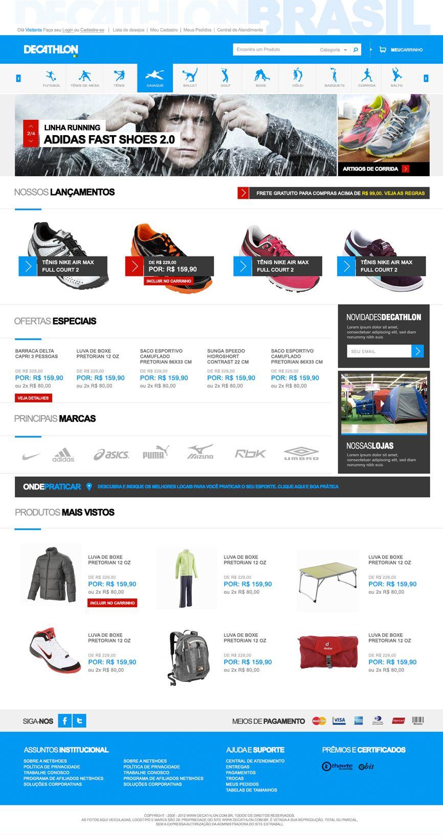 layout para a loja de artigos esportivos Decathlon - Plataforma VTEX ... 29e8ccd43edef