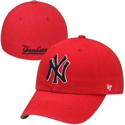 d77ee262639 New York Yankees  47 Brand Red New York Yankees Franchise Fitted Hat ...