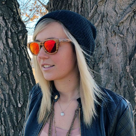 c934d024e Check out these awesome zebra wood sunglasses from Thrive Shades! They have polarized  lenses with a mirrored finish that appear red or orange