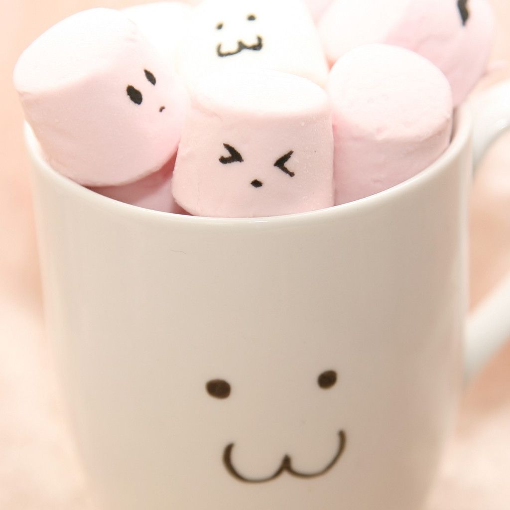 Marshmallow Wallpaper: Cute Pink Marshmallow In Cup #iPad #Wallpaper