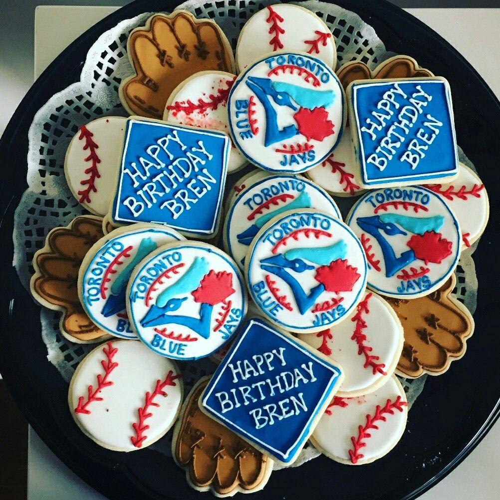 Toronto blue jays cookies Sugar cookies Baseball cookies