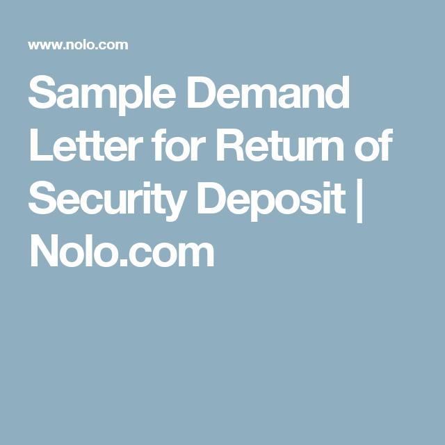 Sample Demand Letter For Return Of Security Deposit  NoloCom