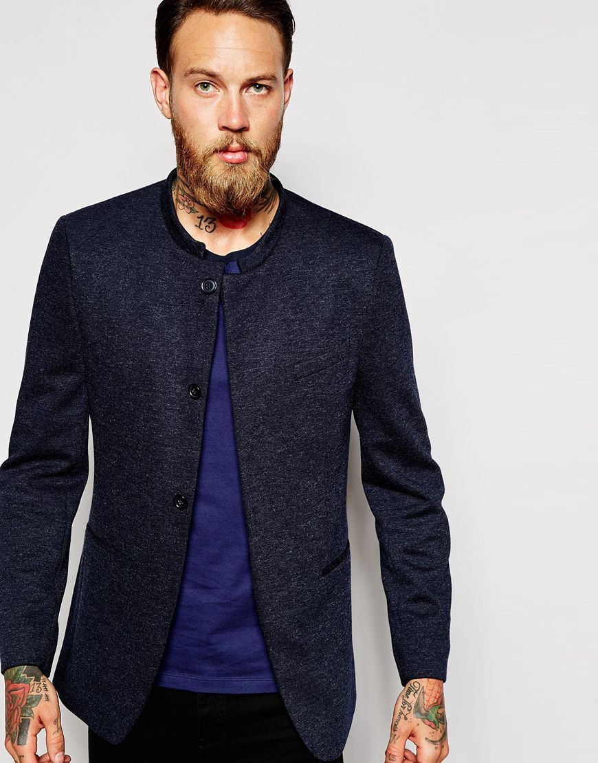ASOS Skinny Blazer In Jersey With Mandarin Collar at asos.com