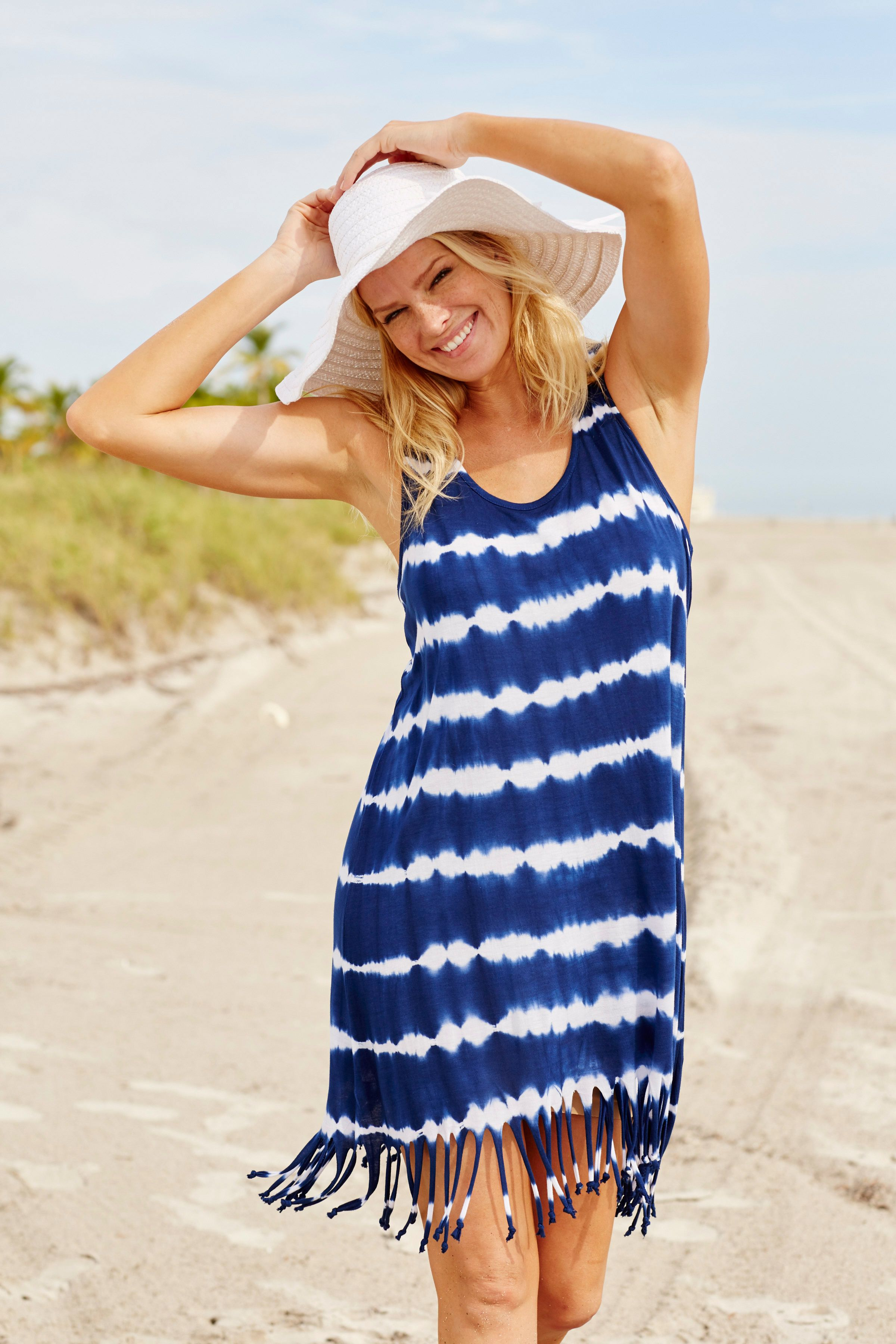 89dfbe6df Boho beach vibes! Fringe hem cover-up, wide brim hat and a whole lot of  sunshine! Plus Size Fashion from Woman Within.