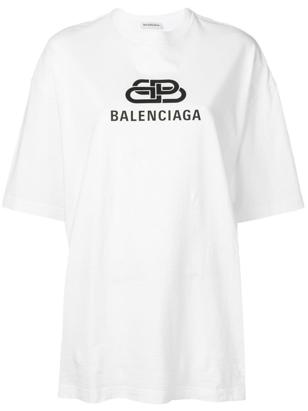 3856d551c38 Balenciaga oversized BB logo T-shirt - White in 2019   Products   Bb ...