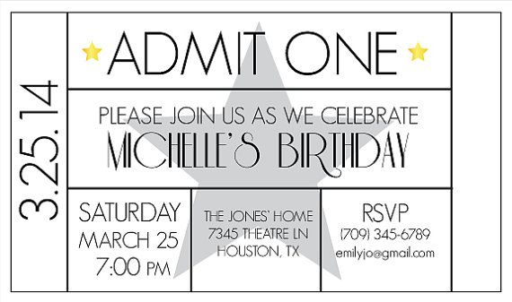 Ticket Invitation For Movie Night Theater Parties Or A Hollywood Glamour Party