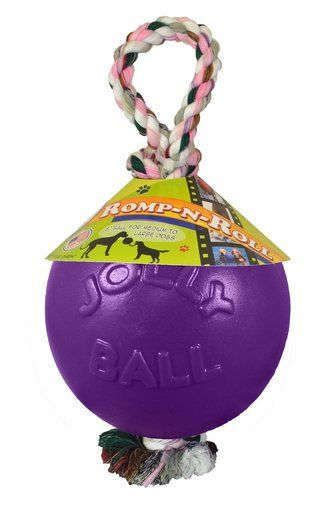 Jolly Pets Romp N Roll 4 5 Inch Purple Rubber Ball With Rope For