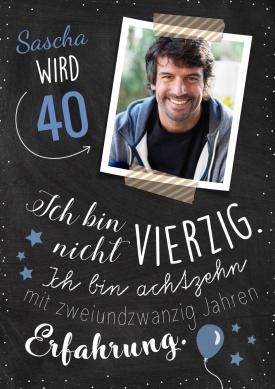 Witzige Einladungskarte Zum 40. Geburtstag Mit Foto Und Spruch Zur  Erfahrung. Nur Foto Und Namen Einsetzen! #EinladungGeburtstag.de