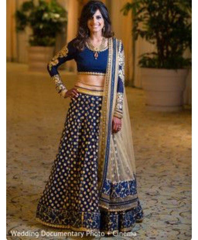 Navy blue royal lok | Lehengas and half sarees | Pinterest