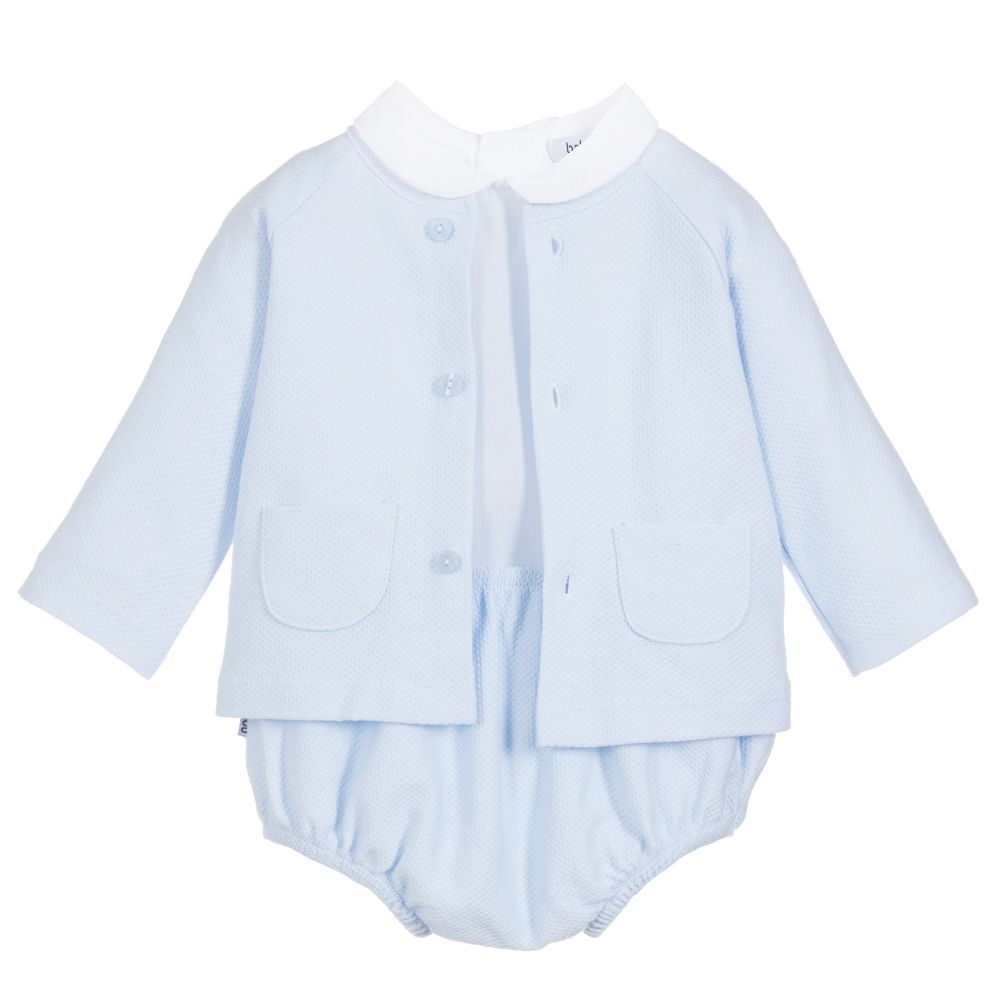 2d35f7ed5 Baby boys blue three-piece cotton outfit set from Babidu. It includes a soft
