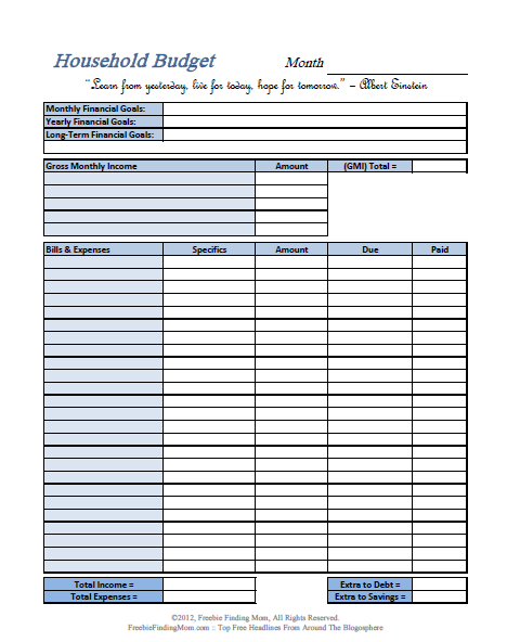 annual household budget template - free printable budget worksheets download or print