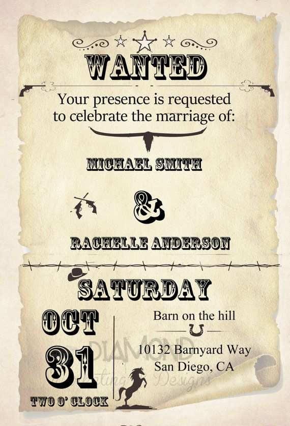 Wild West Wedding Invitation By Rachellesinvites On Etsy 15 00 Wild West Wedding Cowboy Wedding Invitations West Wedding