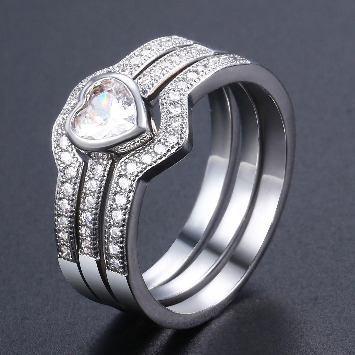 Davieslee Women White Gold Filled Wedding Band Ring Paved
