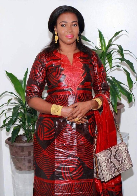 Malian fashion red and black Bazin long sleeve dress embroidery
