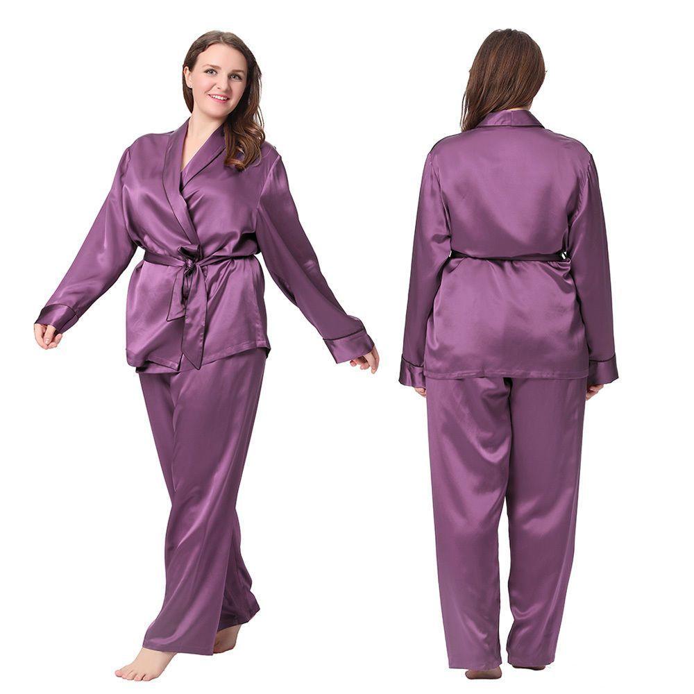 06a5a0dd711 2Pcs Women Pajama Set 22 Momme 100% Mulberry Silk Sleepwear Lilysilk Plus  Size