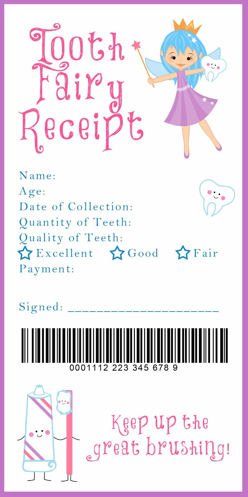 photograph about Tooth Fairy Ideas Printable called Teeth Fairy Receipt Printable keep in mind anytime Enamel