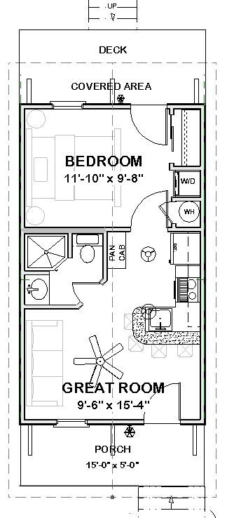 Complete House Plans- 390 s/f Cute Cottage-- 1 bed/1 ba   Tiny ...