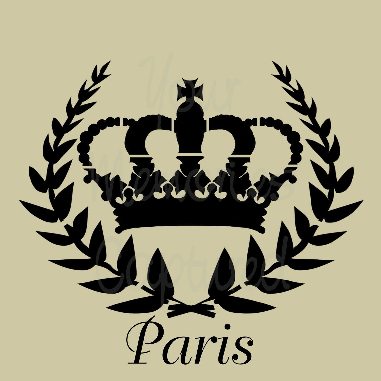 paris stencils paris crown shabby chic reusable stencil for fabric wood paper french. Black Bedroom Furniture Sets. Home Design Ideas
