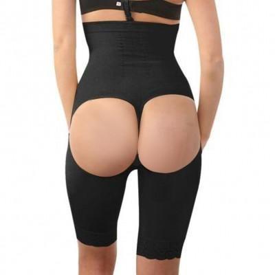 c78b32c95 Black Women High Waist Buttock Enhancement Underwear Thigh Slimmer ...