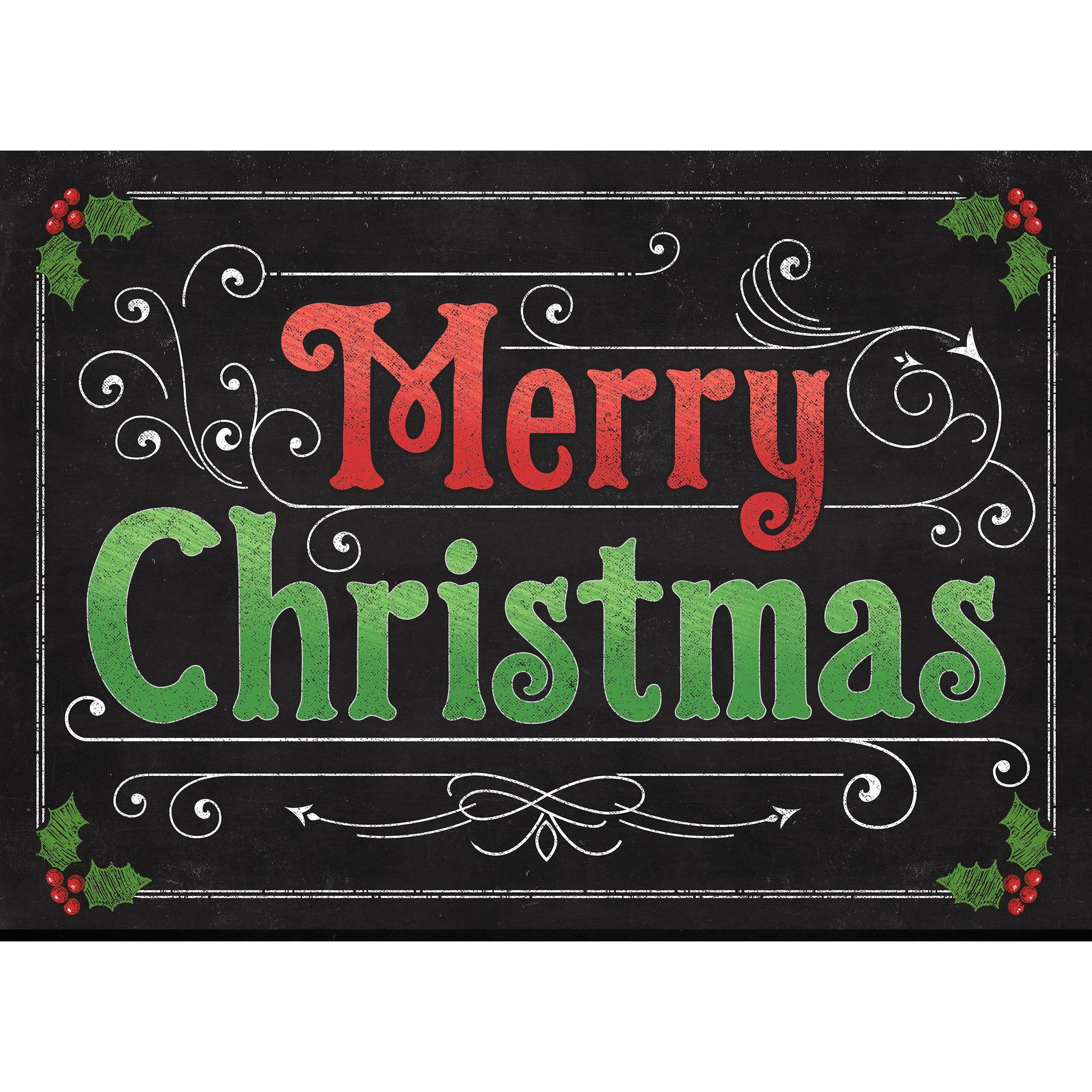 Primitive Farmhouse Vintage PRINT 8x10 Merry Christmas Holly Chalkboard Black
