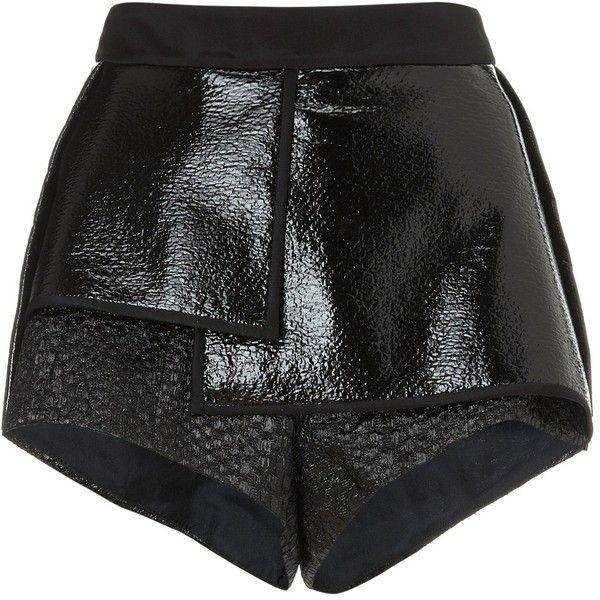 Ellery Black City Thunder Pleat Shorts (1.080 BRL) ❤ liked on Polyvore featuring shorts, bottoms, pants, black, high-waisted shorts, high-rise shorts, e l l e r y, high rise shorts and layered lace shorts