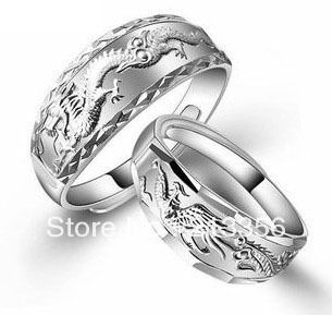 2PCSET STERLING SILVER WOMEN MENS WEDDING RINGS DRAGON PHOENIX