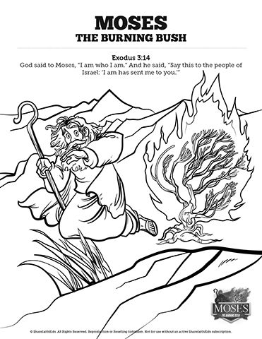 Exodus 3 Moses And The Burning Bush Sunday School Coloring Pages