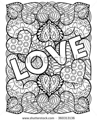hearts with love in doodle, zentangle style adult coloring page ...