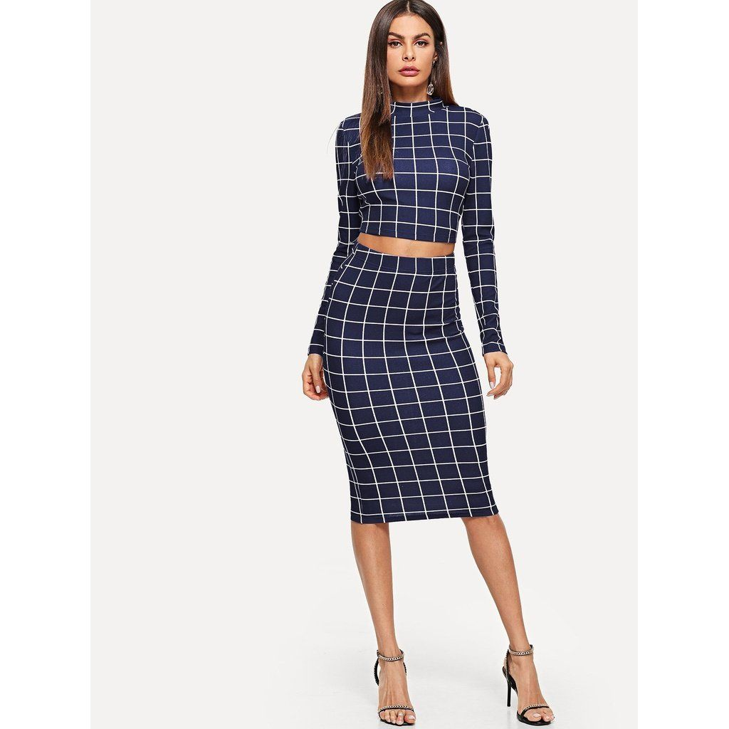 d96514700 Crop Grid Top & Pencil Skirt Co-Ord - Trendy Tshirts, dresses, heels,  shoes, clothing, jewelry & stuff. Bracelets, earrings, necklaces, rings,  accessories.