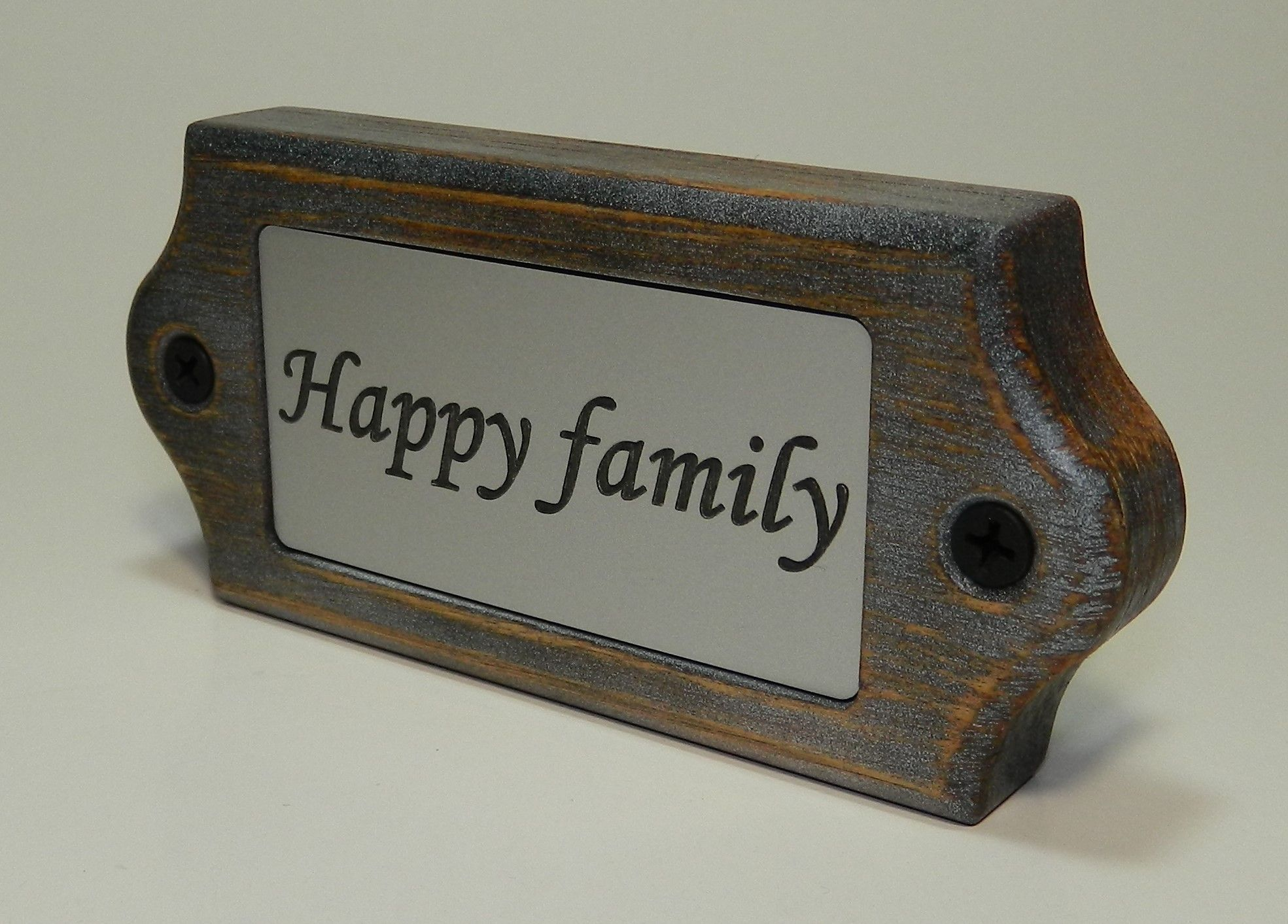 Wooden Door Name Plate - HAPPY FAMILY - with engraved plastic ...