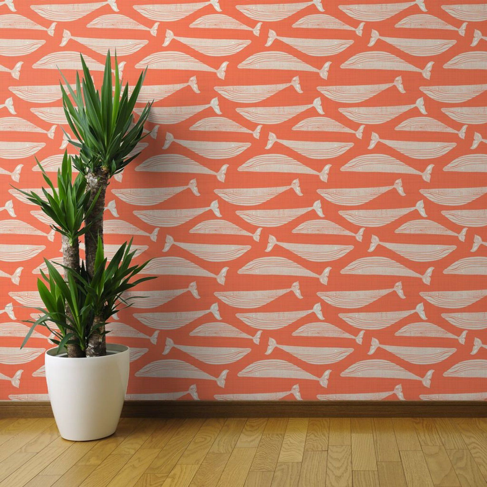 Whales Wallpaper Whales On Orange By Gemmacosgroveball Etsy Peel And Stick Wallpaper Wallpaper Roll Whale Nursery Decor
