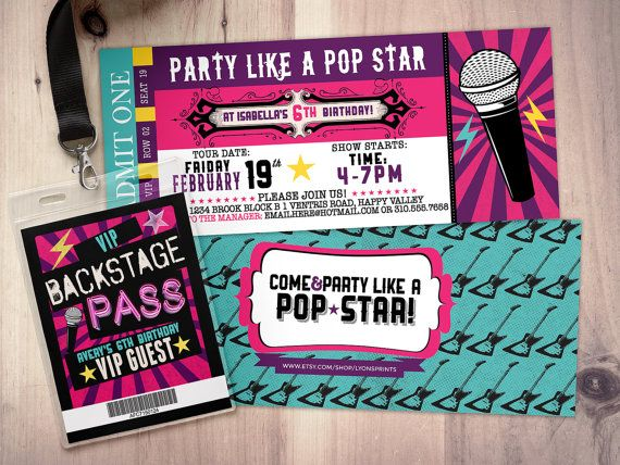 Pop star, Rock Star concert ticket birthday party invitation - invitations that look like concert tickets