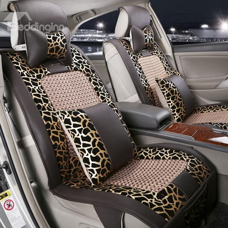 New Arrival High Quality Luxury Brown Leopard Print Seat Covers