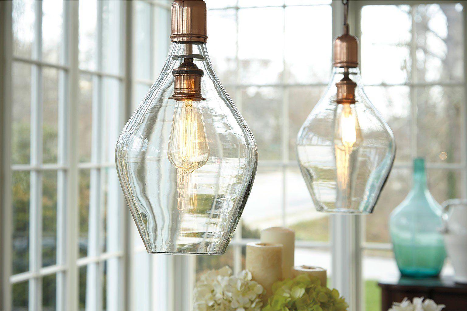 Gaenor glass pendant light clearcopper in lighting