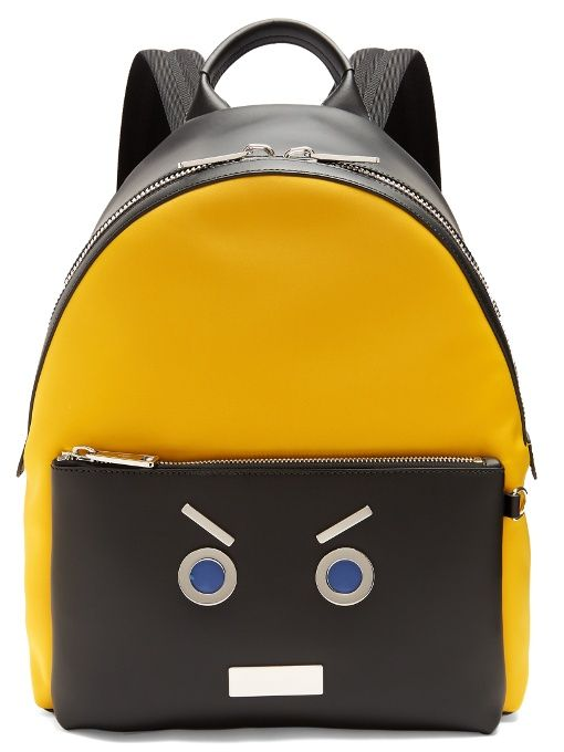 27de3786aac4 Fendi No Words leather-trimmed backpack