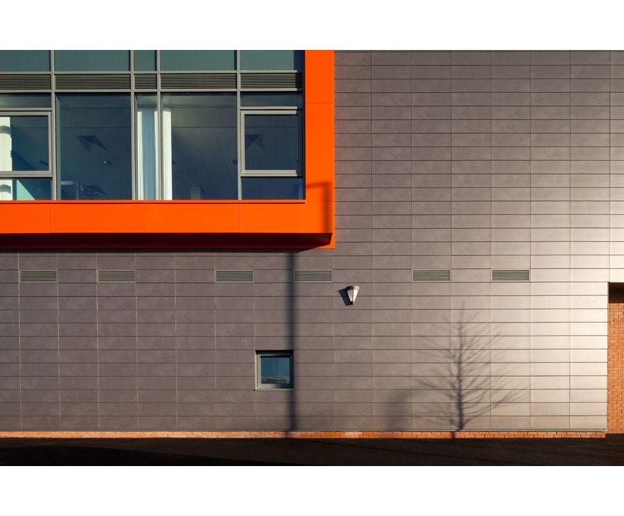 orange grey cladding finish architectural photographer belfast