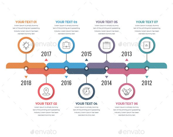 Red and Teal Horizontal Timeline Infographic Buy this stock