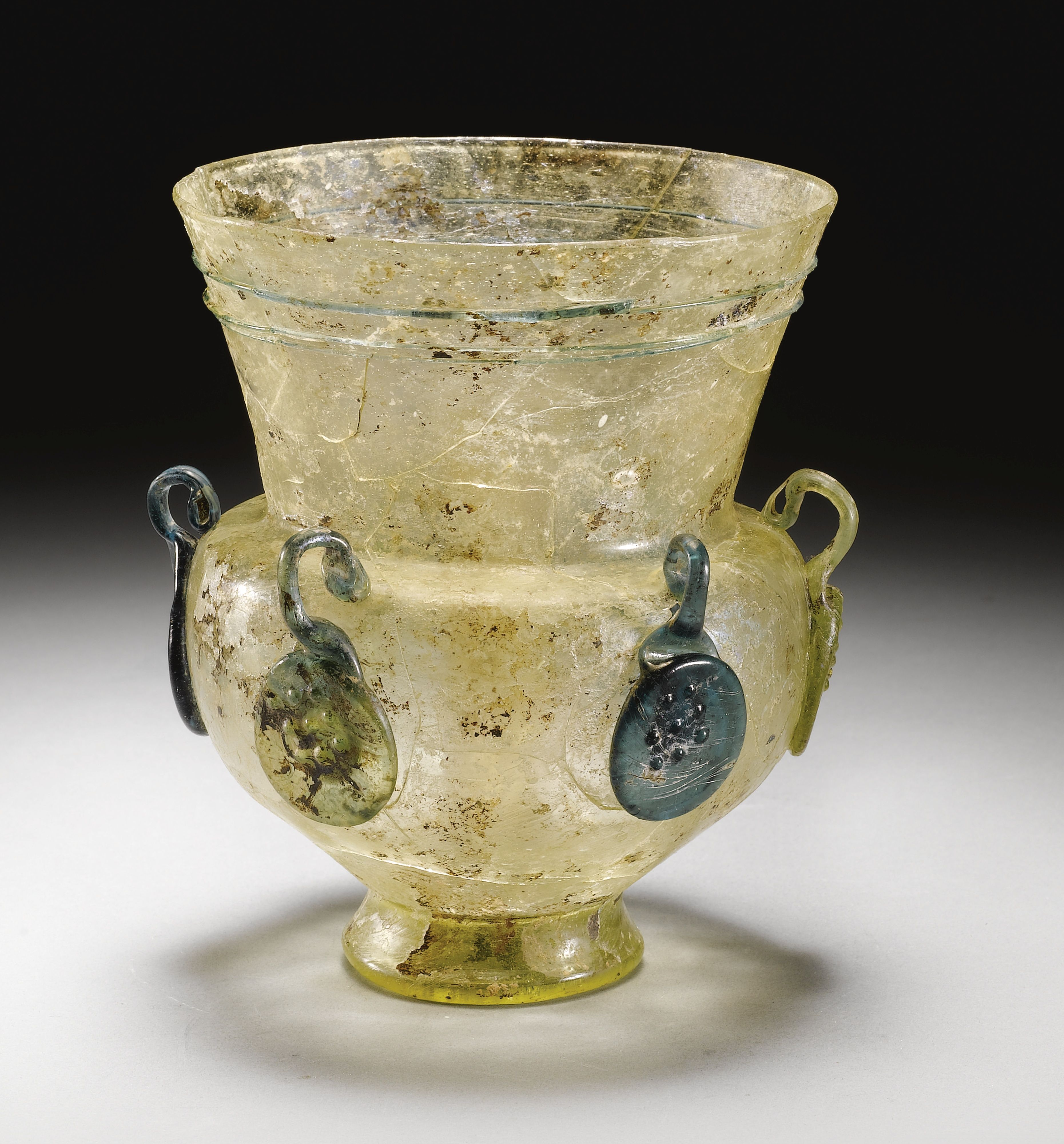 A Rare Early Glass Mosque Lamp Syria 12th Century Lot Ancient Lamp Antique Glass Roman Glass