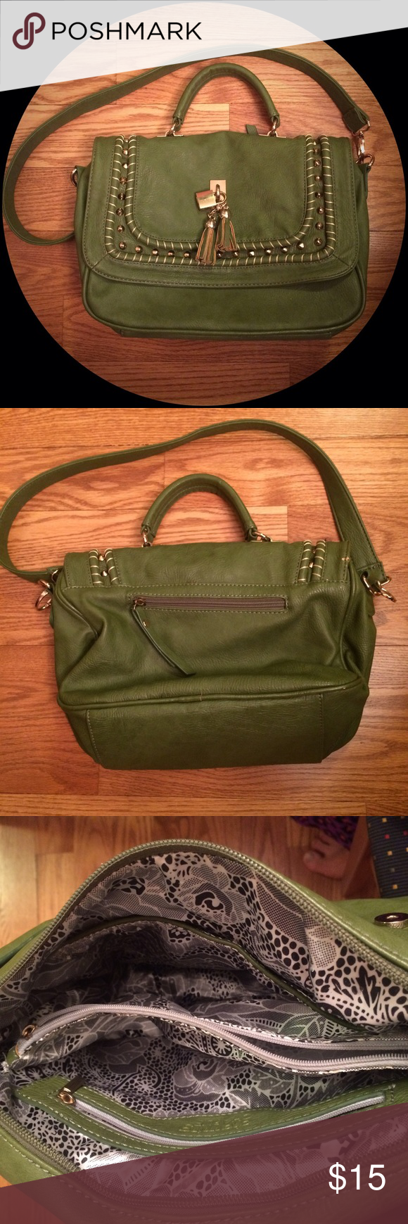 Tasseled & Studded Army Green Shoulder Bag This has a double inside compartment and plenty of pockets. There are not any stains or rips in the lining. There are few scuffs to the outside surface as pictured, but other than that the bag is in very good condition. Charming Charlie Bags Shoulder Bags